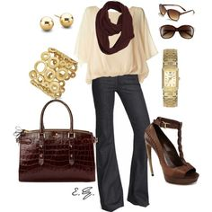 Love the color combo - burgundy, cream, gold, brown