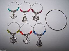 Wine Glass Charms NAUTICAL SAILBOAT ANCHOR WHEEL