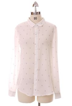 #Chicwish Anchor Print Shirt in White