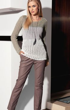 LANA GROSSA: Filati Classici 3 Modell 19: Rippenstrick-Pullover (Puntino) Pullover #newclothes #topmode #Pullover #anoukblokker #newstyle #womenwinter    www.2dayslook.com