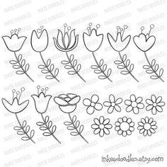 Spring Flower Digital Stamp Blossom Pretty Black Floral Doodles Embroidery Supplies School Teacher Clip Art Scrapbooking Embellishment 30049