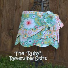 Reversible Wrap Skirt Sewing Pattern Girl PDF by MyLittlePlumcake, $6.50