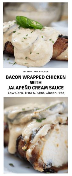 Bacon Wrapped Chicken with Jalapeño Cream Sauce (Low Carb, THM-S, Keto, Gluten Free) #trimhealthymama #thm #thms #lowcarb #jalapeño #creamsauce #keto #bacon #chicken #baconwrappedchicken