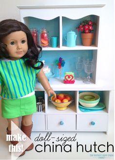 furnitur makeov, girl doll, china cabinets, furniture makeover, american dolls, china hutch, ag doll, mini, american girls