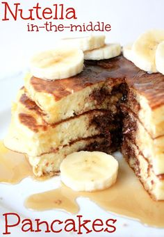 Nutella {in-the-middle} Pancakes  by Munchkin Munchies.