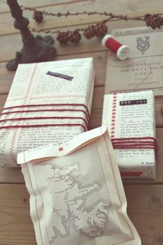 Book pages sewn together to make gift wrap.