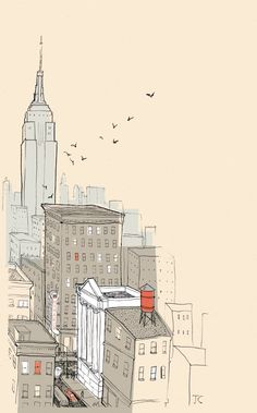 City skyline illustration by Jamey Christoph, from his blog alley cats and drifters