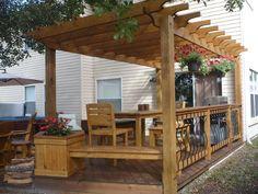 wooden deck and pergola