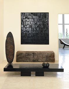 http://www.pinterest.com/joliesarts/ ∗ »☆Elysian-Interiors ♕Simply divine #interiordesign ~ Africa ~ interior ~ earthy - table with shield