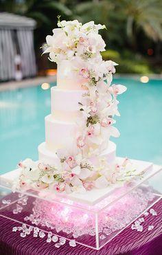 Amazing Cascading Orchids Wedding Cake