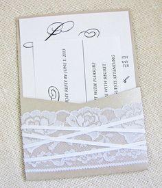 Shimmer Lace Ribbon Shabby Chic Vintage Pocket Wedding invitation