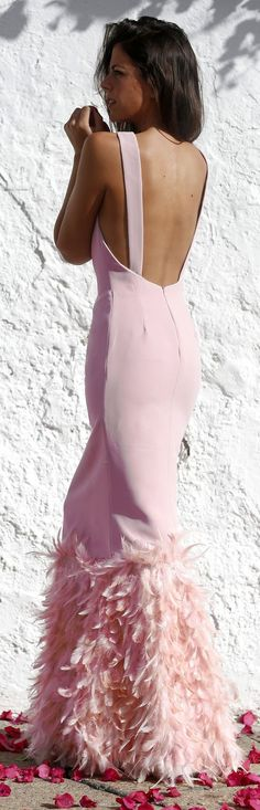 Glamour Gown: Pink Taylor Feather Hem Backless Gown Dress