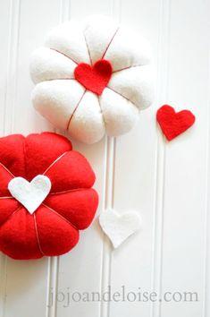 diy heart red felt pincushions
