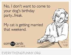 Hahaha!  : ) No, I don't want to come to your dog's birthday party ... freak.  My cat is getting married that weekend.