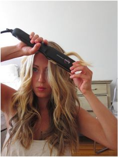 Beachy waves with a flat iron