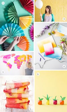Colorful DIYs to Try // paper fans, ombre cards, beaded mini fruits...