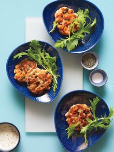 Salmon Cakes with Greens from Epicurious.com #myplate #protein #veggies