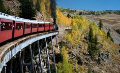 """""""We rode the Cumbres and Toltec Scenic Railroad that runs from Chama, NM, to San Antonito, CO, and were treated to incredible vistas with golden Aspens adding lots of color to the green pine trees.""""  (Courtesy mmiwig/myBudgetTravel)"""