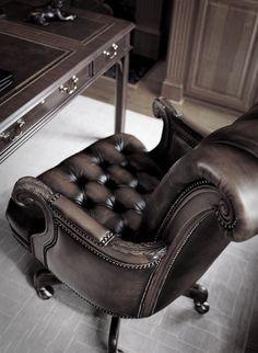 A masculine yet elegant leather office chair | #TreatYoSelf #ParksandRec
