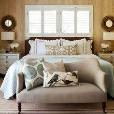 Aqua + Brown bedroom
