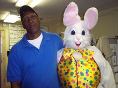 Hubby and the easter bunny lol me