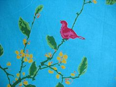 Home Decor Fabric Floral / Bird Print   Thick by theDelhiStore, $15.00