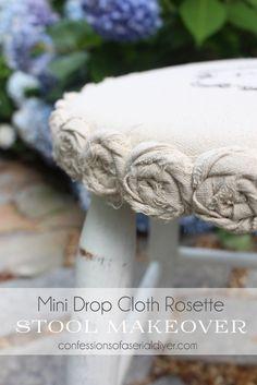 Mini Drop Cloth Rosette Stool Makeover (A $5 yard sale find)