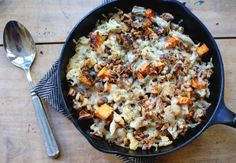 roasted cauliflower and butternut squash gratin with gruyere cheese, walnuts and rosemary.
