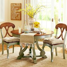 Turn a corner into your dining area with a space-saving round table.