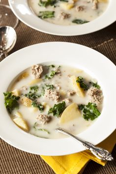 Kale soup: made in a crock pot with red potatoes, onions, mushrooms, chicken broth, sausage, kale, garlic