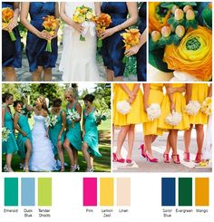 New Summer Wedding Colors   I'm in love with the emerald and the light blue!