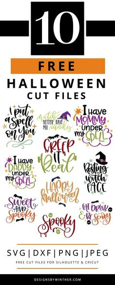 10+ completely free SVG files for Halloween. Want to make some awesome Halloween DIY craft projects this Halloween? You cannot miss out on these 10+ FREE svg files that work for both Silhouette and Cricut. Use these craft cutting files for things such as mugs, scrapbooking, clothes, home decor, signs and more!!