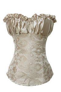 Ladies Women Wedding Creamy Lvory Renaissance Satin Corset Basque Top Size XXL | eBay