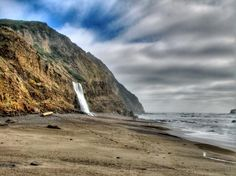Alamere Falls, USA    This 40 ft tall amazing fall is located in cliff dropping into the ocean in Pt. Reyes National Seashore, north of San Francisco, California in the US.