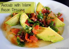 avocado with warm bacon dressing