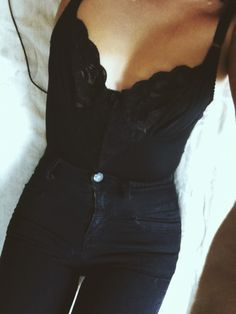 . black style, lace tops, black outfits, black cami outfit, high waisted black jeans, girl style, beauty, spring outfits, all black everything
