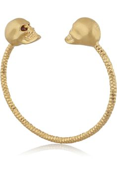 Alexander McQueen Gold-tone Swarovski crystal skull bracelet  NET-A-PORTER.COM
