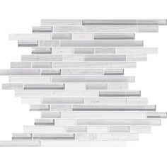 Modamo | Waterfall Wooden White Limestone Glass Linear Blend Mosaic | Home Depot Canada