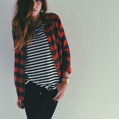 Change it up..... Plaid shirt with striped top, plaid shirt with black jeans rather than blue- changes the whole look