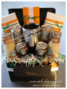 Coffee Gift Basket but add Cracker Barrel breakfast foods...Awesomeness!!