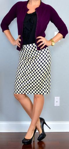 Polka dot pencil skirt from J.Crew: see entire outfit details at Outfit Posts
