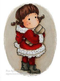 Tilda in Christmas coat, Merry Little Christmas, Magnolia stamps