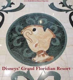 Mrs. Potts (Beauty and the Beast) marble floor inlay in Disney's Grand Floridian Resort lobby  #BeautyandtheBeast #GrandFloridian #Disneyworld #WDW