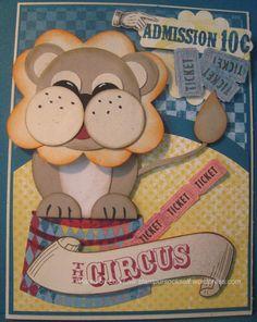 circus lion, cardspunch art, art circus, art card, punchart, punch idea, lions, scrapbook, kid card
