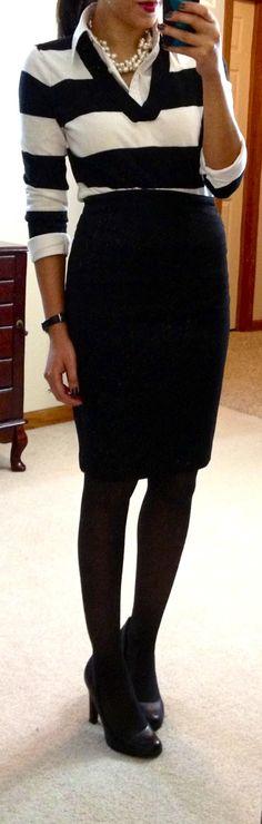 stripes + pencil skirt work wardrobe, the white stripes, offic, pencil skirts, work outfits, work wadrob, work attire