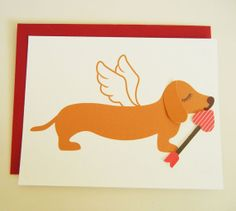 Valentine Cupid BBQ the Dachshund Doxie Angel Wings Heart by Cuore, $4.75