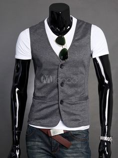 Deep Gray Buttons Pockets Cotton Men's Vest - Milanoo.com