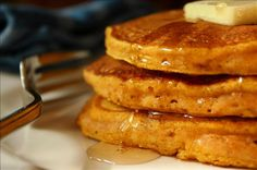 Light and Fluffy Pumpkin Pancakes Delicious!!!! And super easy.  These little beauties are a beautiful color and will keep you full for hours after eating just one serving. I needed to use up extra canned pumpkin and thought I'd give it a try. - I got it out of the Martha Stewart Living magazine