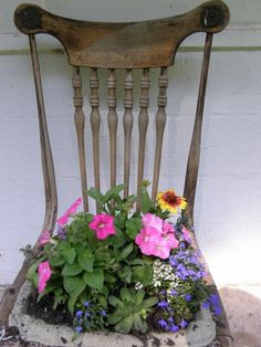 Old Chairs For Garden Planters   ... Ideas & Garden Ideas > Get Creative With Containers: Pot Luck Planters