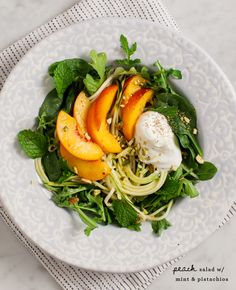 Peach Salad with Mint, Pistachios and Coriander Yogurt / @loveandlemons